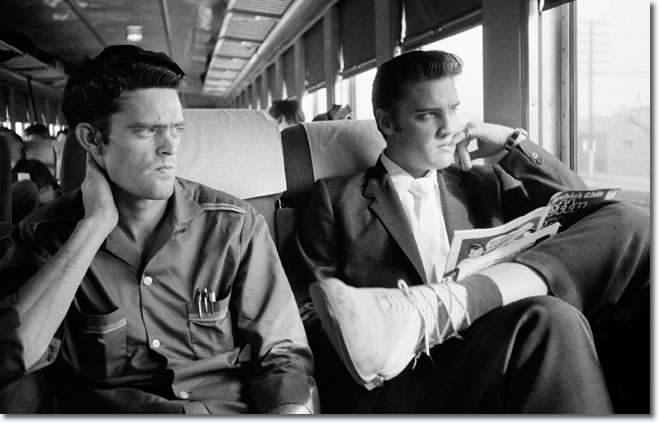 Gene Smith and Elvis Presley on the Southern Railroad between Chattanooga and Memphis, Tenn. July 4, 1956