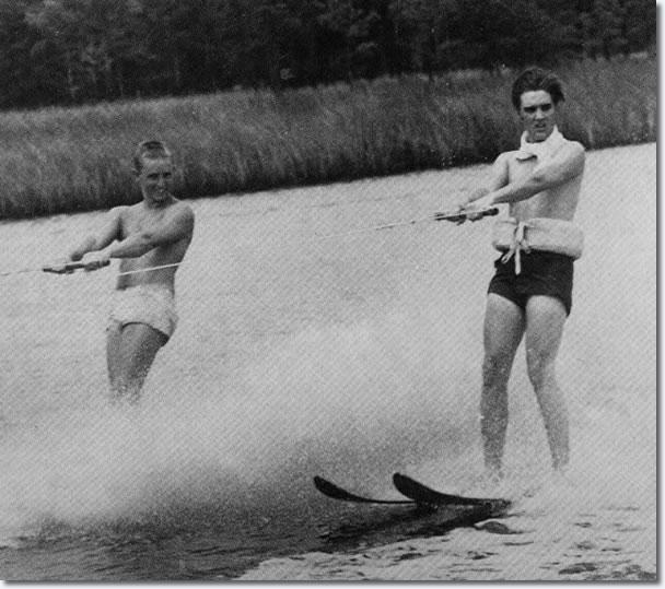 Elvis Presley Water Skiing, Bayou, part of Big Lake, near Biloxi, July 31, 1956
