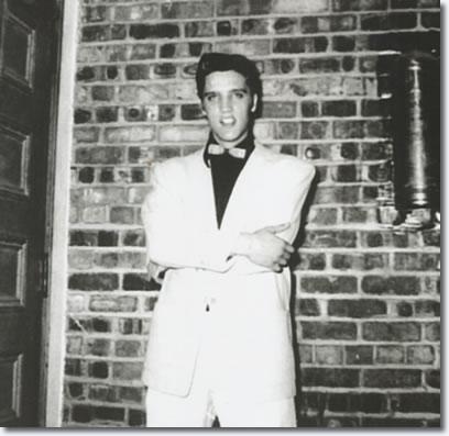 Elvis Presley, back stage, The Louisiana Hayride, Municipal Auditorium, Shreveport, Louisiana, October 16, 1954.