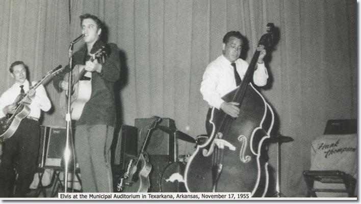 Elvis Presley at the Municipal Auditorium in Texarkana, Arkansas, November 17, 1955.