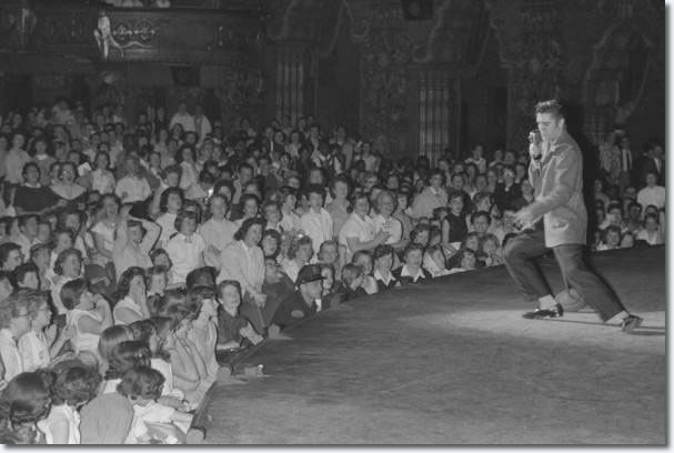 Excited teens scream as Elvis performs at the Fox Theatre, his first time in Detroit. (Photo courtesy of MRPI Collection).