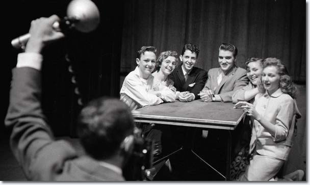 These lucky teen winners of a Detroit Times essay contest got to meet with Elvis Presley backstage at the Fox on May 25, 1956.