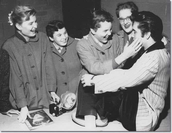 Elvis Presley with fans, Ottawa, Canada 1957