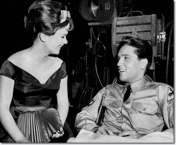Elvis Presley chats with leading lady, Leticia Roman, 19, on the set of G.I. Blues at Paramount Studio in Hollywood May 26, 1960. The film was Presley's first since his release from the Army, and the first ever for Miss Roman, an import from Italy. One Hollywood producer was already pegging her as another Lollobrigida.