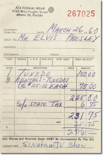 Bill for Elvis Presleys Tuxedo for the Frank Sinatra TV Special 1960