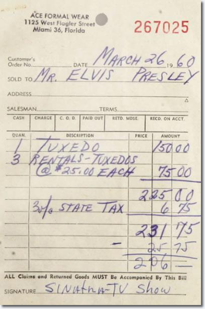 Bill for Elvis Presleys Tuxedo for the Frank Sinatra TV Special 1960