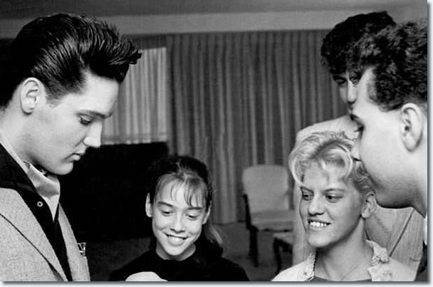 Elvis meets some fans at the Fontainebleau Hotel