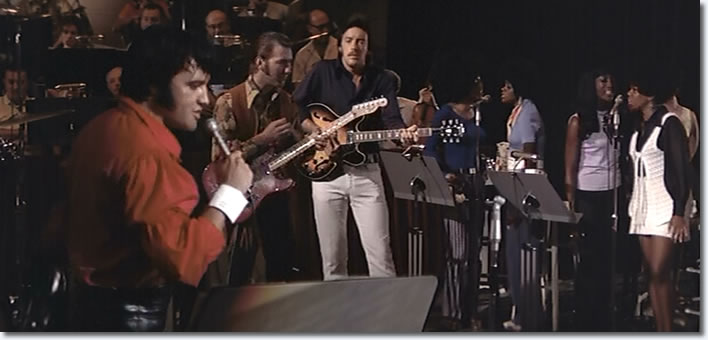 Elvis performs 'Words' in in rehearsal during filing for That's The Way It Is