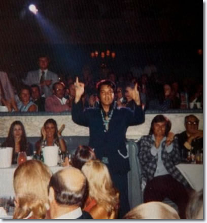 Here is Elvis on September 4, 1973, as Tom Jones introduces him in the audience.  Note Linda Thompson to Elvis'' right.