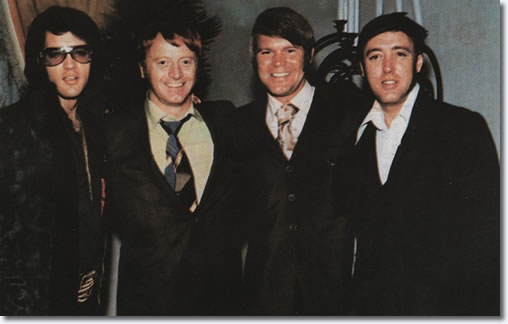 Elvis Presley, Red West, Glen Campbell and Richard Davis at George Klein's wedding, December 5, 1970