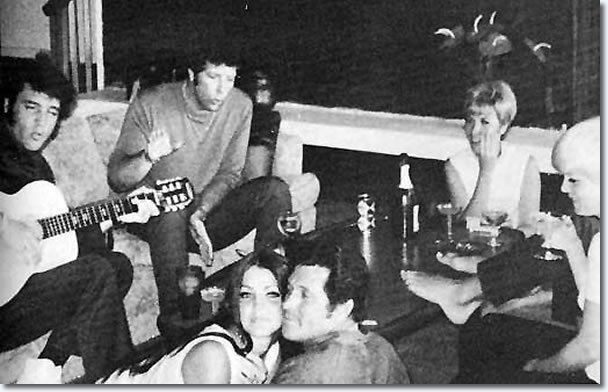 Elvis Presley and Tom Jones, with Priscilla and Charlie Hodge