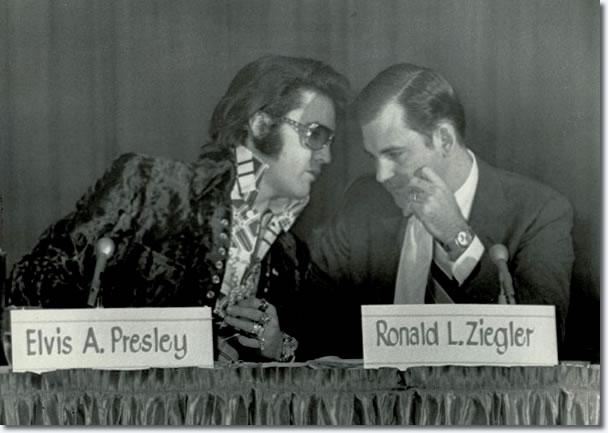 Elvis Presley talks with Ron Ziegler