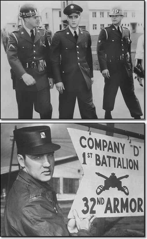 Elvis Presley - Receiving the royal escort on his first day in Friedberg, and (further below) sometime later, a more seasoned Elvis strikes a pose in front of 1st Bn, 32nd Armor sign at Ray Barracks.
