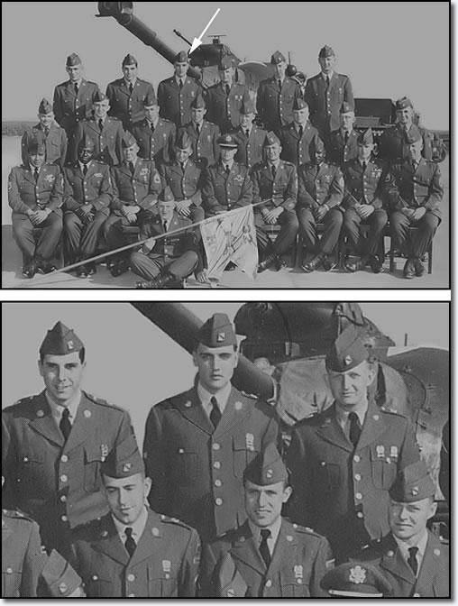 Top row, left to right: PFC John B. LaFata, Sp4 Elvis A. Presley, PFC Lawrence C. O'Brien. Bottom row: PFC Elzear J. Ricard, PFC Michael M. Wittmair, Sp4 Robert E. McDaniel.