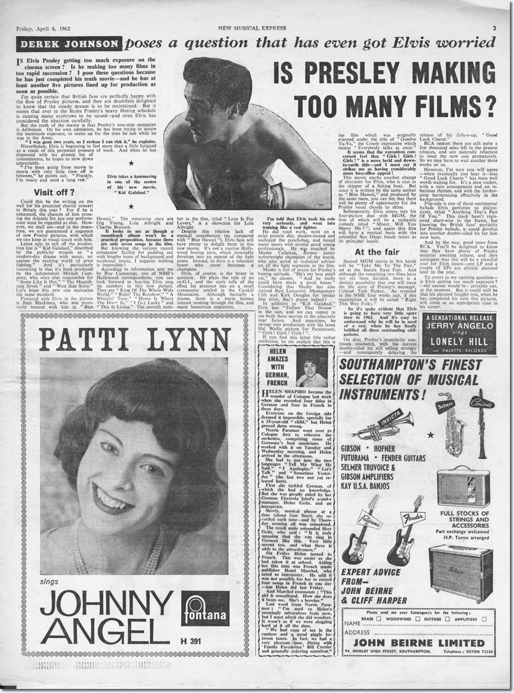 Original NME article : Is Presley Making Too Many Films?