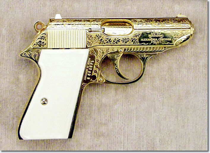 Jack Lords Walther PPK semi-auto pistol, .380 caliber, as given to him by Elvis Presley, January 1973.