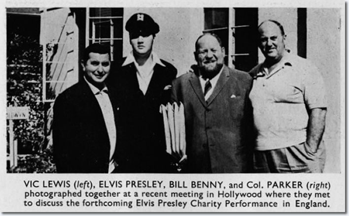 Vic Lewis, Elvis Presley, Bill Benny and Colonel Parker : Meet to discuss a Elvis Presley Charity Performance in England.