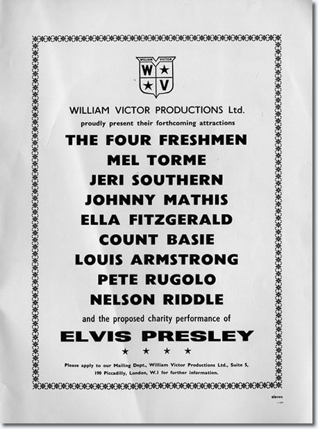 The ad that announces the concert that proves it just wasn't talk. The ad appeared in a Shirley Bassey programme.