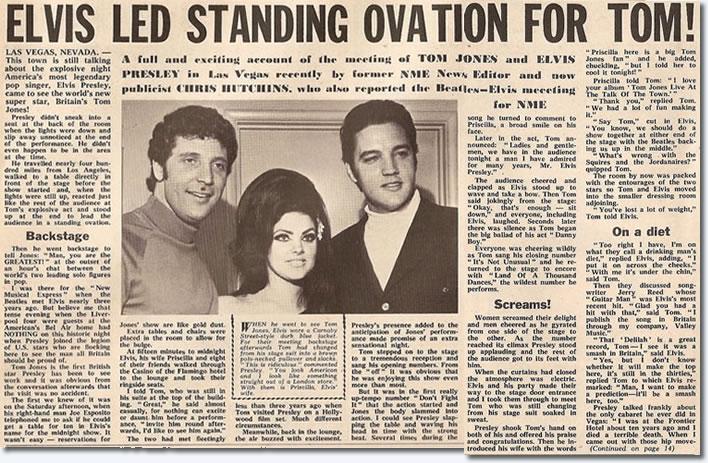 Elvis led Standing ovation For Tom Jones