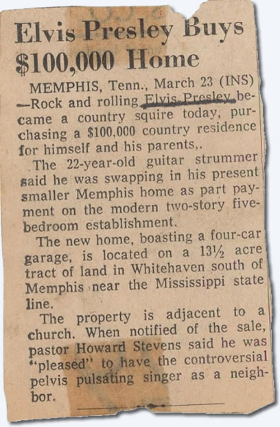 Elvis buys $100,000 mansion.