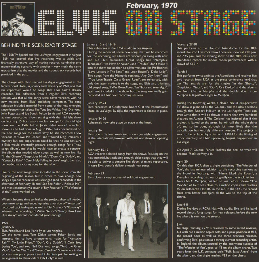"On Stage : February, 1970 : FTD 2 CD Special Edition [7"" Classic Album Presentation] : Inside the Booklet : 'Behind The Scenes'."