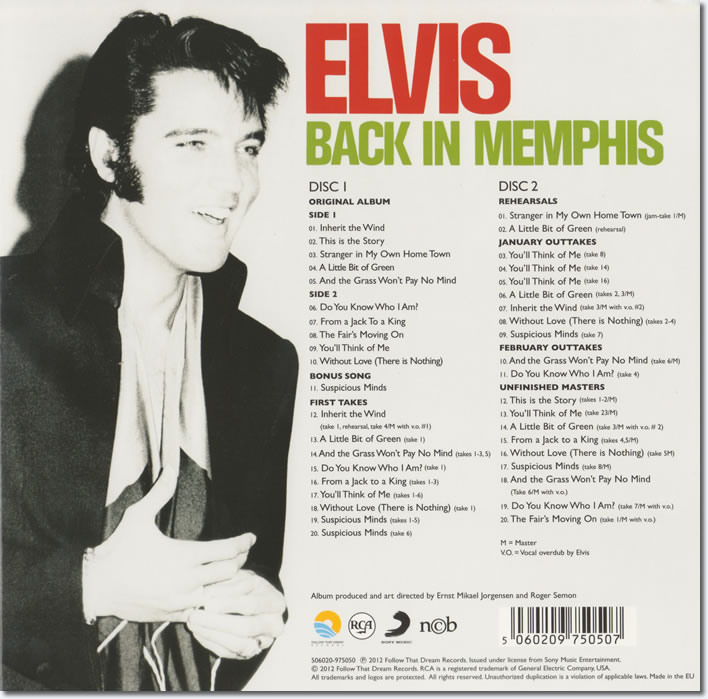 Elvis : Back In Memphis : FTD Special Edition 2 CD Classic Album : Back Cover.
