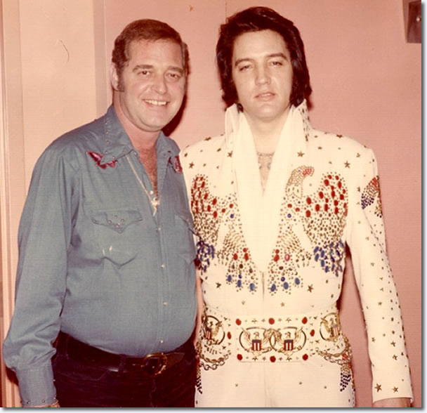 Elvis Presley and Felton Jarvis in Las Vegas sometime during the January/February 1974 engagement.