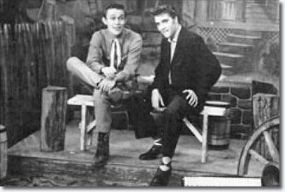 Jimmy Dean and Elvis Presley on the Jimmy Dean WMAL-TV Show, March 23, 1956.