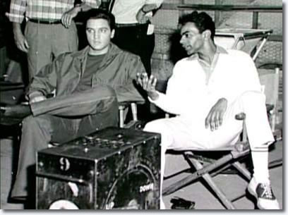 Johnny Mathis and Elvis Presley on the set of 'Wild In The Country.
