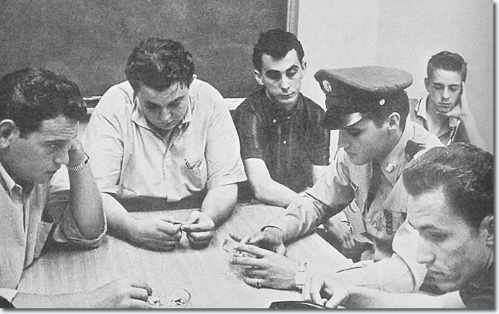 August the 13th 1958.Alan Fortas,Lamar Fike,George Klien,Elvis,Billy Smith and Louis Harris,pictured sat round a table in the hospital conference
