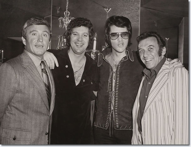 Elvis with Merv Griffin, Tom Jones, and Norm Crosby, backstage in Las Vegas