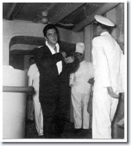 Elvis Presley, November 5, 1957 - Aboard the USS Matsonia bound for Honolulu Hawaii