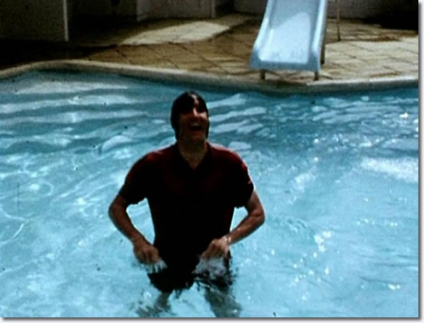 Elvis Presley - in the swimming pool at his holiday home in Hawaii