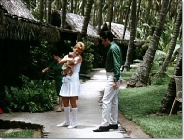 Elvis Presley on holiday, Hawaii, with Lisa Marie