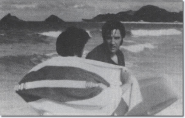 Elvis with Surfboard on holiday