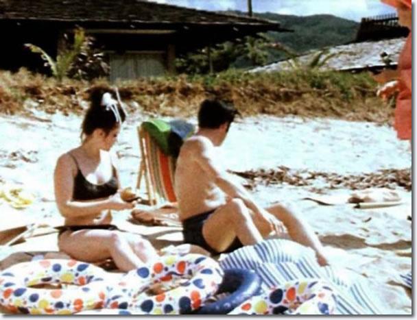 Priscilla and Elvis Presley on holiday, Hawaii