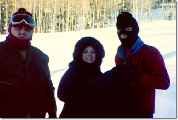 Elvis and Priscilla Presley, not preparing to rob a bank, dressed for the cold!