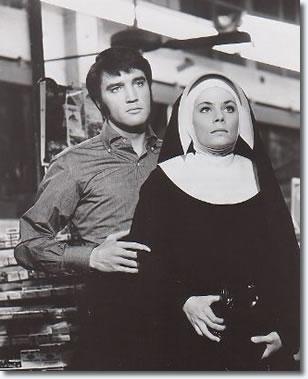 Elvis Presley and Jane Elliot (Sister Barbara Bennett ) - On location for the Ajax Market scene