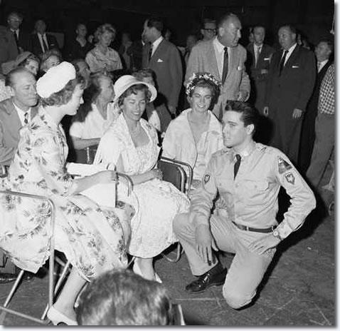 Elvis Presley with Princesses Margrethe of Denmark, Astrid of Norway, and Margaretha of Sweden