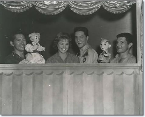 Juliet Prowse and Elvis and Bob Baker the puppeteer