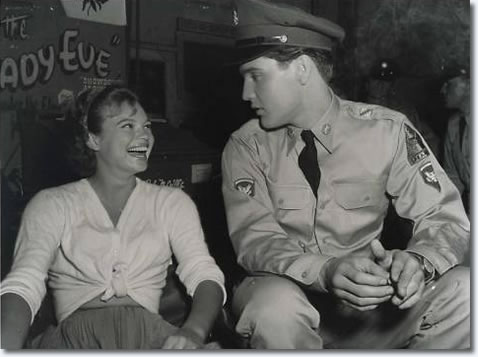 Juliet Prowse and Elvis on the set of 'G.I. Blues'.