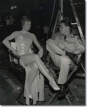Juliet Prowse and Elvis Presley on the set of 'G.I. Blues'.
