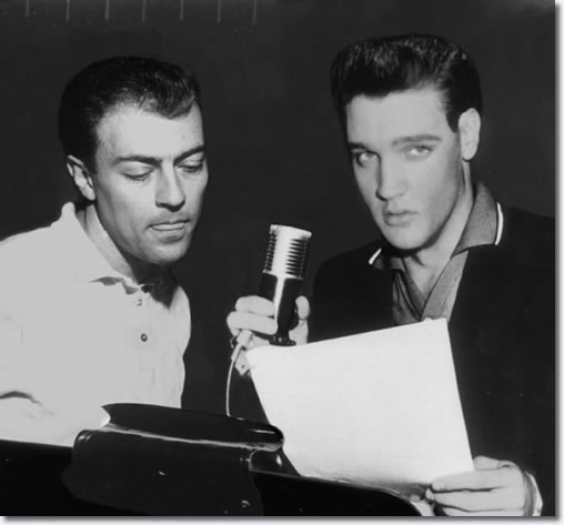 Elvis Presley and Ray Walker of the The Jordanaires at the G.I. Blues Recording Sessions.