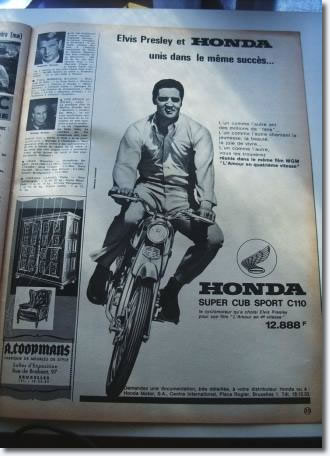 Elvis advertising Honda in a '60s French magazine.
