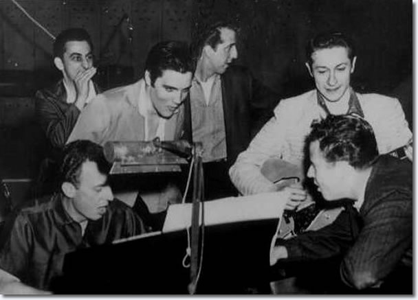 George Klein, Elvis D.J. Fontana, Scotty Moore and Hoyt Hawkins on piano