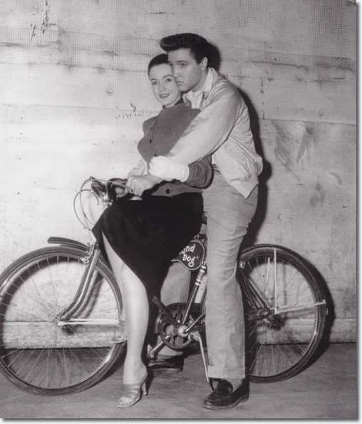 Elvis Presley and Kity Dolan on the set of King Creole.