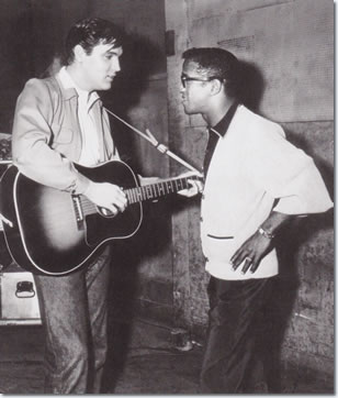 Sammy Davis Jr and Elvis Presley on the set of King Creole.