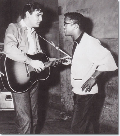 Sammy Davis Jr visits Elvis Presley on the set of King Creole 1958.