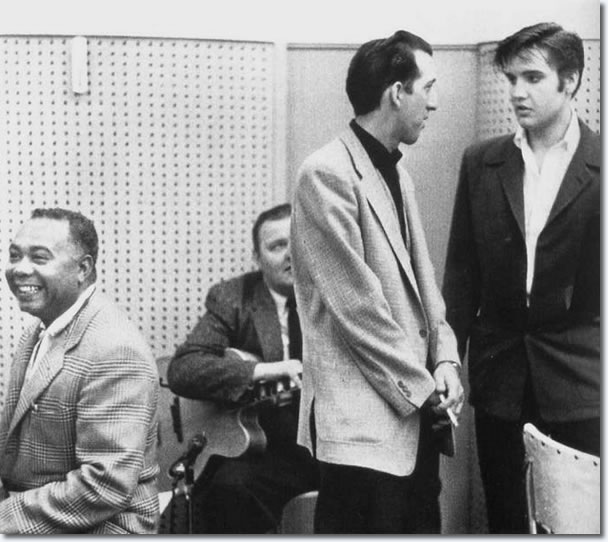 DJ Fontana and Elvis Presley.