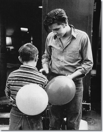 Elvis Presley on the set of Loving You.